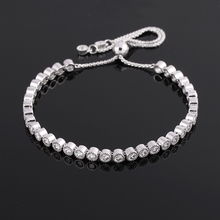 Rhodium Plated Silver Created White Bezel Set Cubic Zirconia CZ Tennis Adjustable Pull String Bracelets