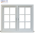 American Style Wooden Grain triple glazed pvc french glass casement window