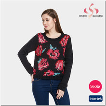 Jacquard sweater lady womens knitwear easy wear clothing