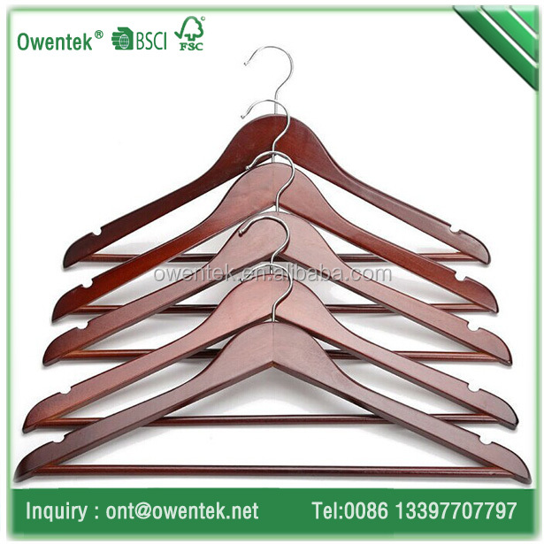 Mahogany color wooden suit hanger/clothes hanger