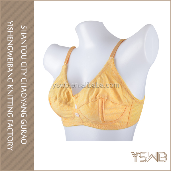 High quality fashion yellow women cotton nursing bra underwear