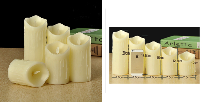 Flameless 5 pack Drippy Wax LED Candles