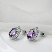 wholesale natural amethyst 925 sterling silver earring gold plated jewelry new model stud earring