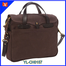Waxed canvas with genuine leather small briefcase, wholesale briefcase, cheap briefcase