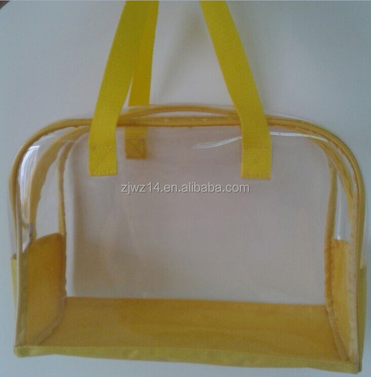 2015 cheap promotional small size fold bottom paper bags with pvc window pvc bag cosmetic bag