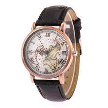 5112 High quality Luxury 2017 World Map watch New Fashion Casual leather watch strap mens vintage watch