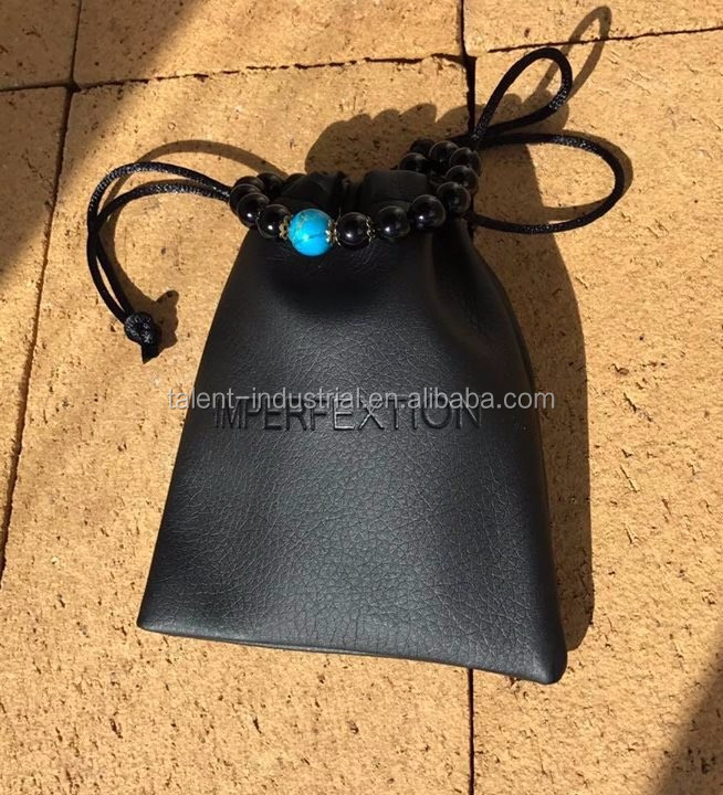Small black real leather pouch,free artwork for you
