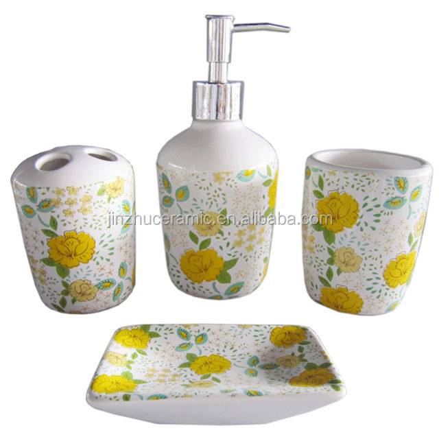 Elegant style 4 pieces flower decal ceramic bathroom accessories bath sanitary sets with soap dispenser