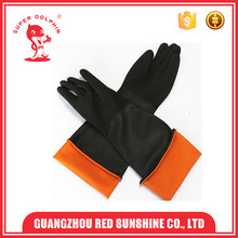 Rough Palm Anti- Acid Industrial Extra Long Rubber Gloves With Pucker