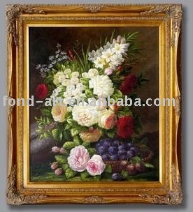 B3862 Antique gold Framed flower Oil Painting