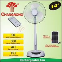 Rechargeable 16 inch emergency remote electric fan with solar panel & AC/DC operated