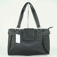 women black leather bag,zipper closed tote bag