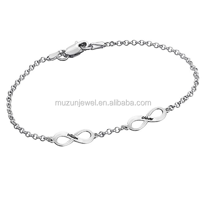 Custom Made Double Infinity Engraved Jewelry 925 Sterling Silver Bracelet
