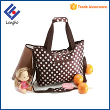 Made in china products multi dots baby nursing bag, padded shoulder handbag diaper baby mother bag