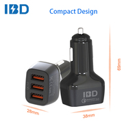 2017 high quality 3 port usb high-energy mobile power supply ac to dc quick car charger socket adapter