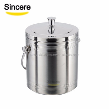 Double wall stainless steel ice cube bucket wine cooler with clip