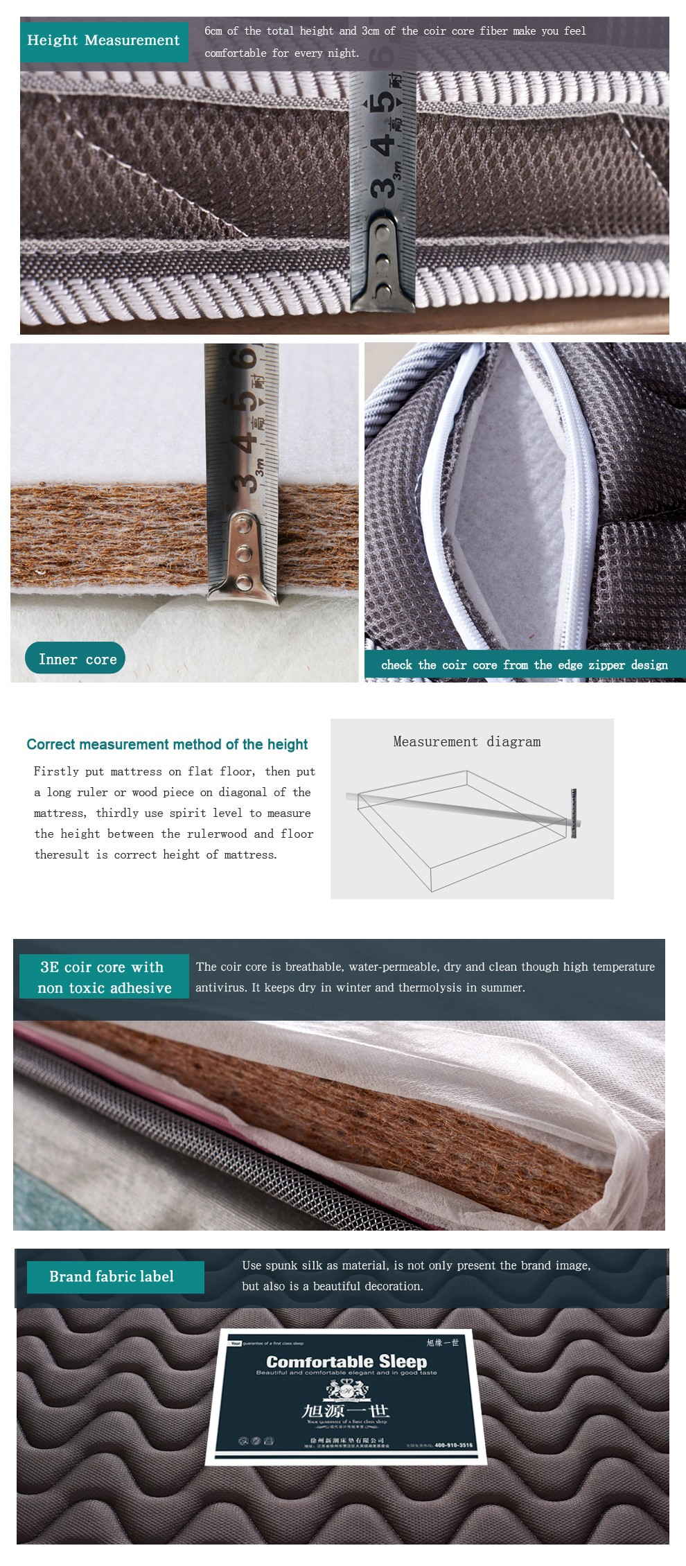 King size soft palm mattress natural coconut fiber mattress - Jozy Mattress | Jozy.net