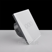 Uk EU US standards 3 gang 1way wall touch switch with led glass panel