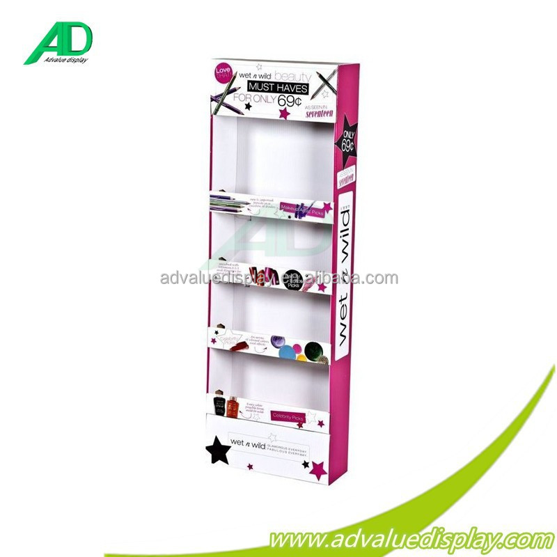 Cardboard sidekick/wall hanging display shelf for COSMETIC MAKEUP SETS for supermarket cosmetical shop store promotional sales