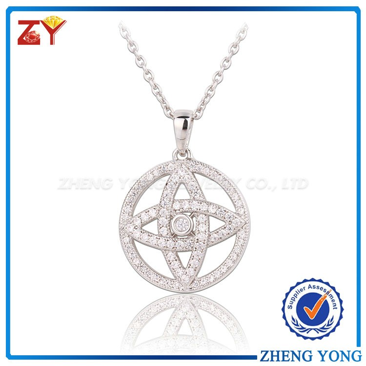Cubic Zirconia Jewelry Rhodium Brass Evil Eye Shaped Zircon Pendant