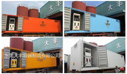 Container adapted for mobile gas stations, fuel tanks