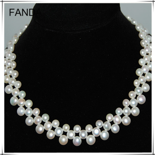 Three strand freshwater pearl neckalce design/button pearl necklace