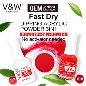 VW OEM fast dry nail dipping powder acrylic French nails 3 in 1 match color gel polish and nail lacuqer dip powder system