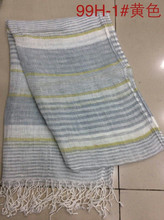 2015 yellow stripe 100% pure linen scarf