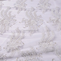 2015 White mesh lace fabric beads french lace for wedding lace dress FB0003