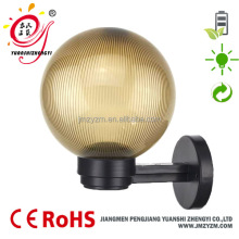 Outdoor IP44 E27 200mm gold prismatic PMMA globe wall light no solar