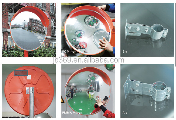 PC/acrylic outdoor plastic convex mirror for traffic safety