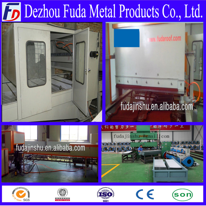 metal stone coated roof tile making machine, working line
