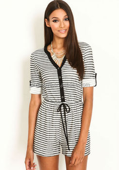 100% cotton striped short sleeve button front women romper