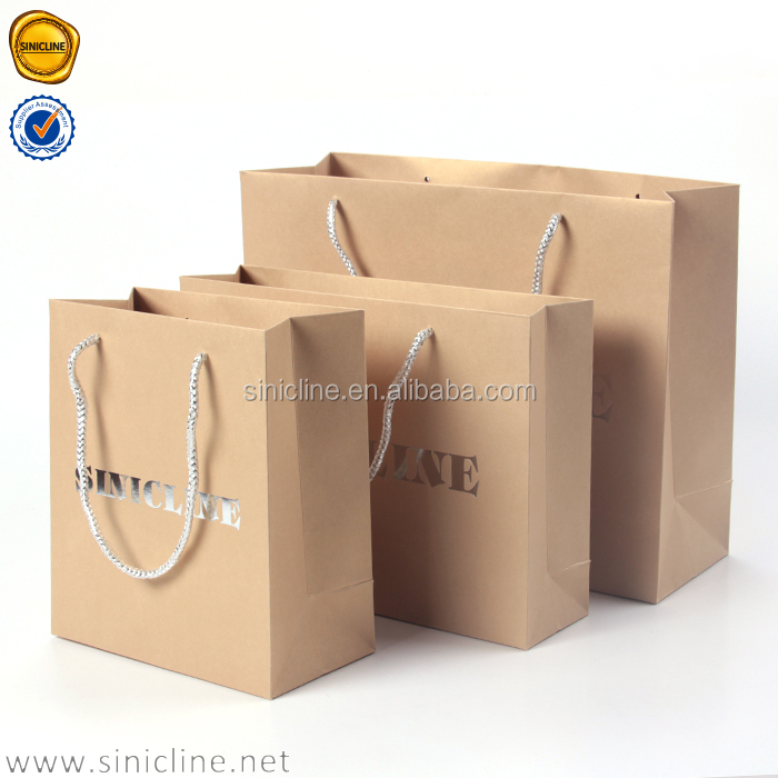 Sinicline 2016 metal glister beige Custom Foiling Stamping Luxury Paper Shopping Bag