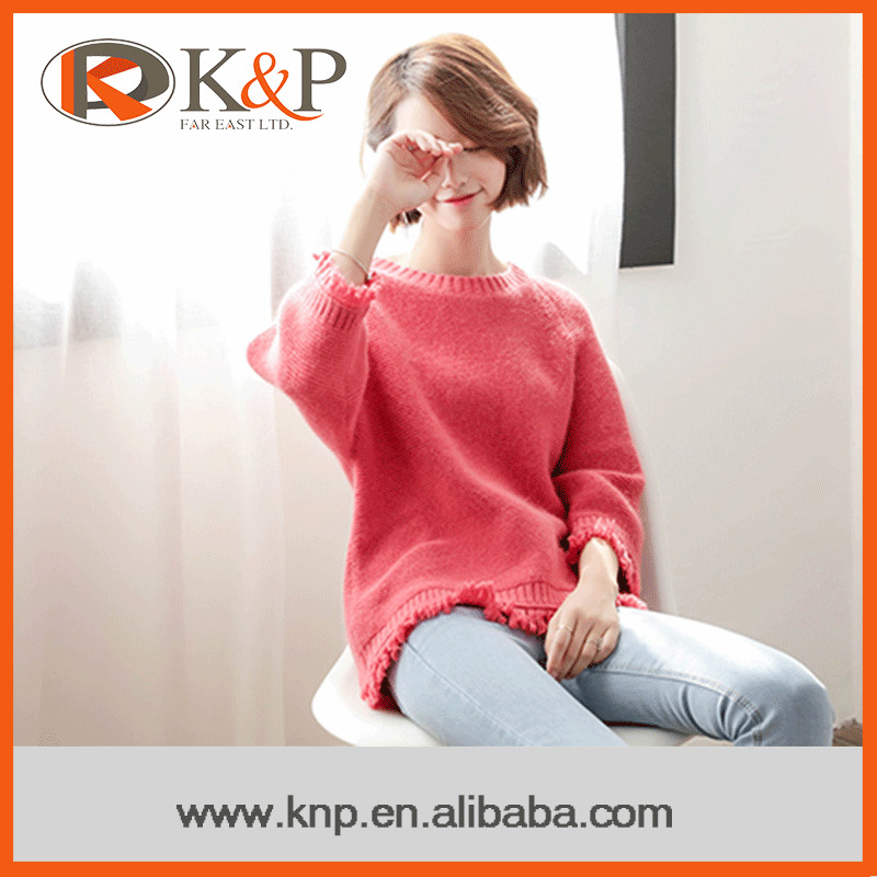 Computer knitted professional service round neck sexy ladies pullover sweater