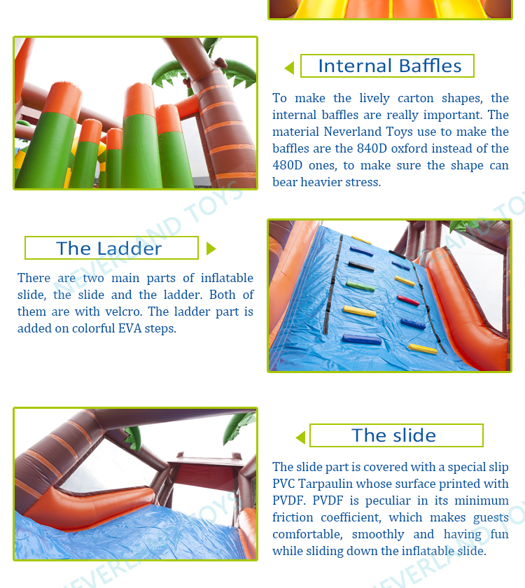 Best quality jungle inflatable obstacle course inflatable slide for sale
