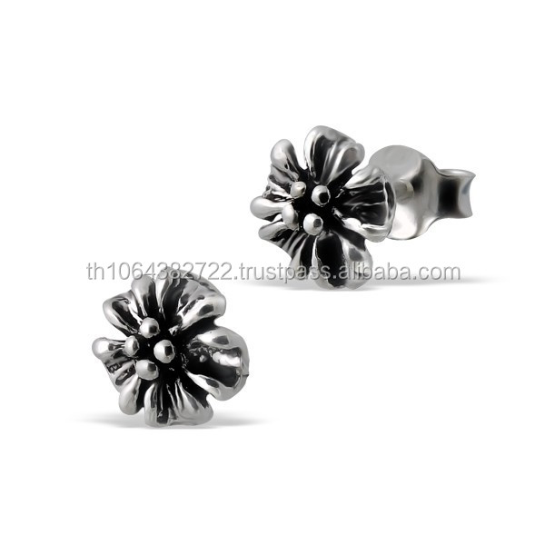 Flower Oxidized Black Tone Earring .925, Sterling Rhodium Plated Silver Body Piercing Ear Studs