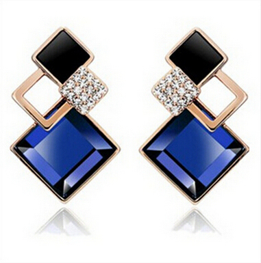 Famous Brand New Fashion Brincos 18K Gold Plated Jewelry Big Blue Crytal Square Stud Earrings For Women