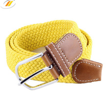 Fashion Braided Elastic Belts For Men With Genuine Leather Ending