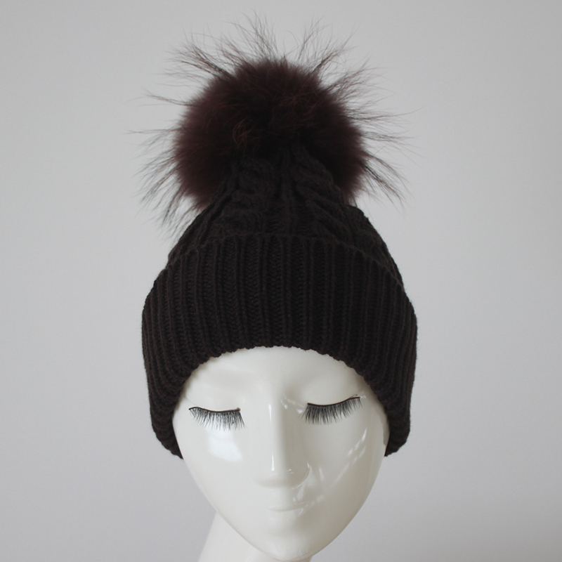 Myfur Cable Custom Winter Hat Merino Wool Fur Pom Pom hat