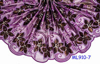 ML910-7 wholesale embroidered silk organza fabric african style french lace flower design organza lace fabric