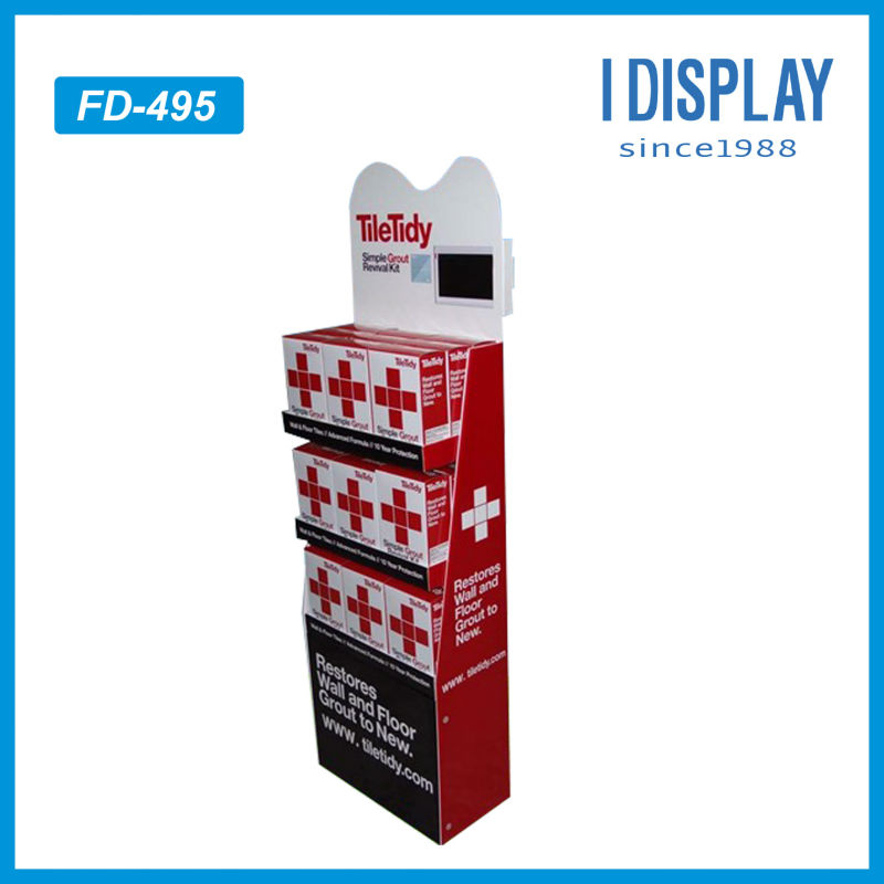 Tile tidy cardboard electronics showroom display with LCD screen