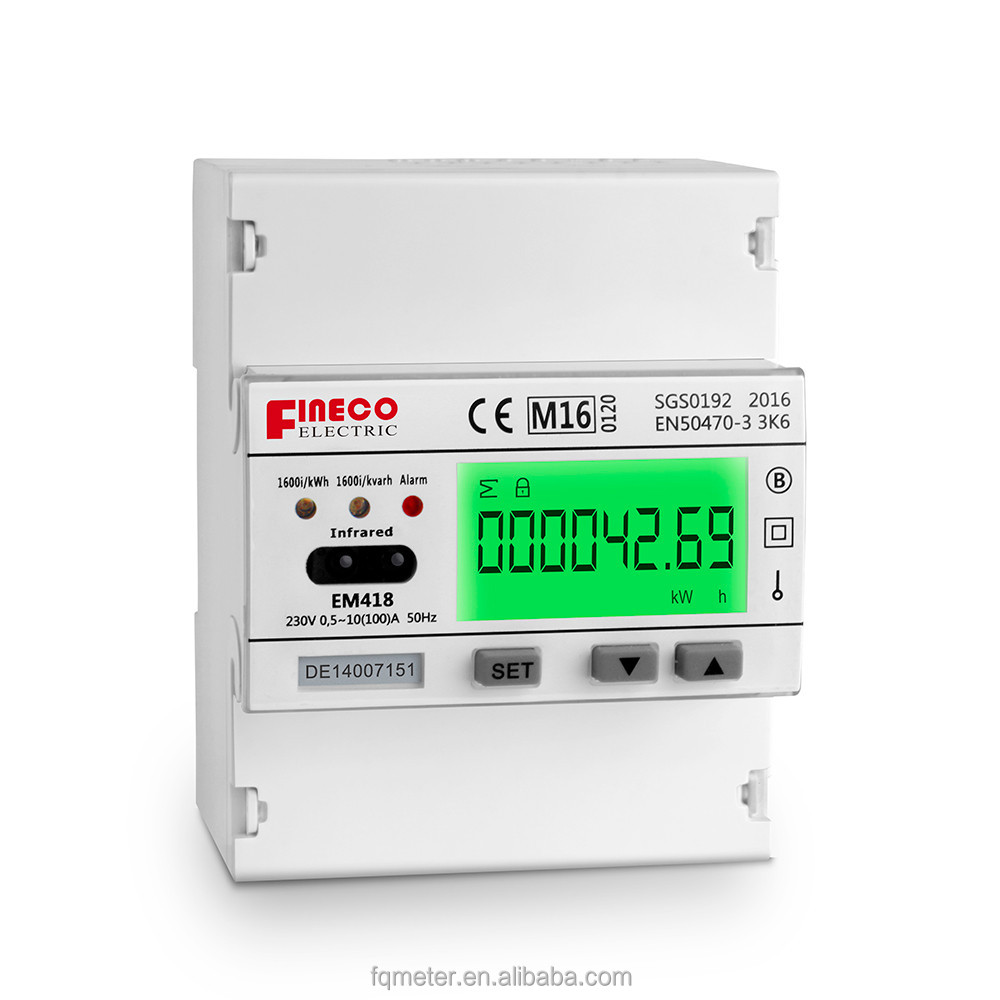EM418 230V 10(100)A MID approved amr electricity meter din rail watt hour meter modbus single phase din rail enegy meter