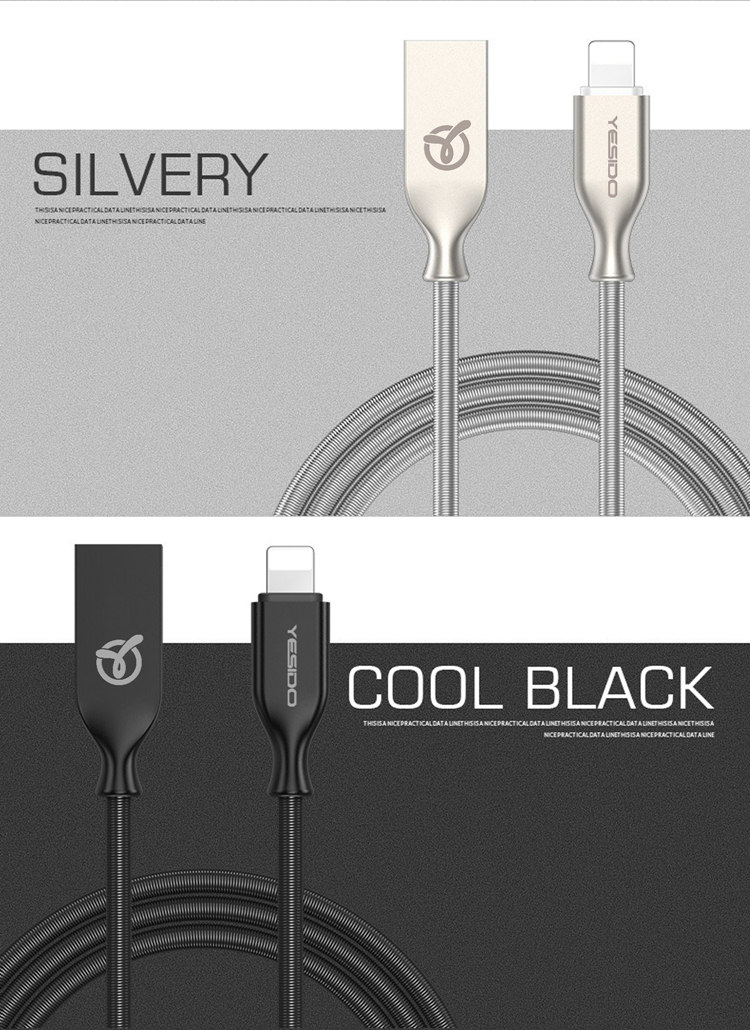 Directly factory hot selling black usb charger cable for iphone 6 data cable black colour