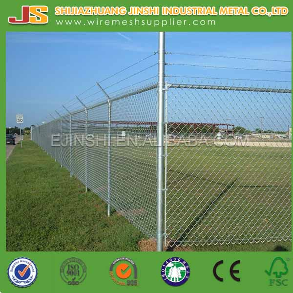 7ft Galvanized / Green PVC Coated Chain Link Wire Mesh Fence Manufacture