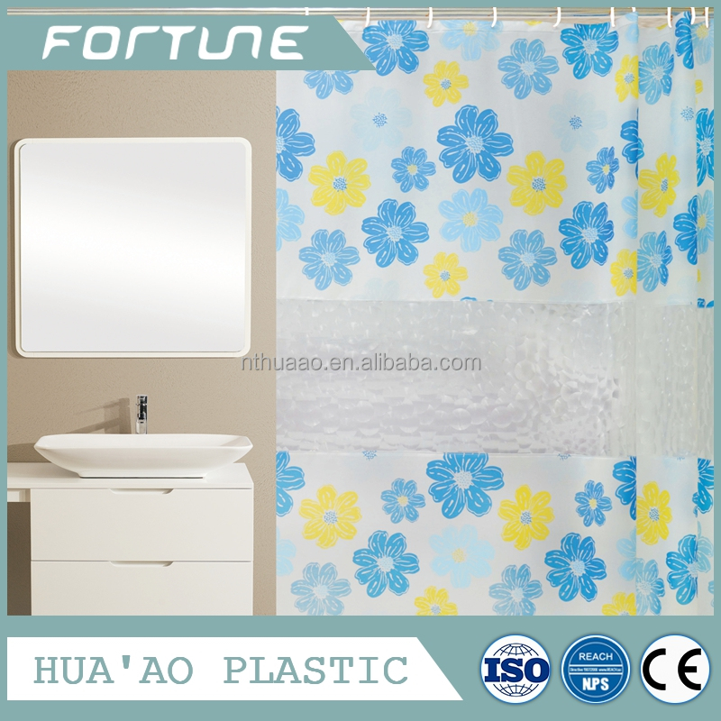 The most popular PEVA shower curtain 3D lines with printing led shower curtain