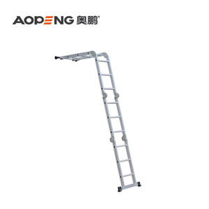 4*3 steps Aluminum Extension Ladder Multi-purpose Folding Ladder with Locking Hinge