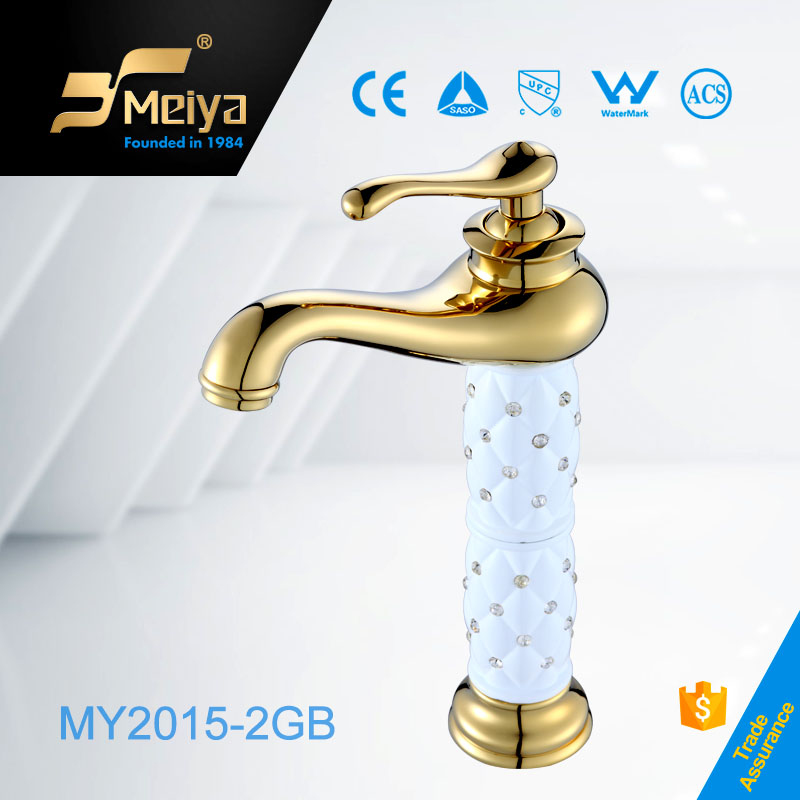 Gold single handle higher basin taps,UPC Faucet Parts,China faucet factory