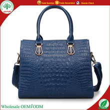 Italian style blue crocodile skin genuine leather handbag tote bag for lady