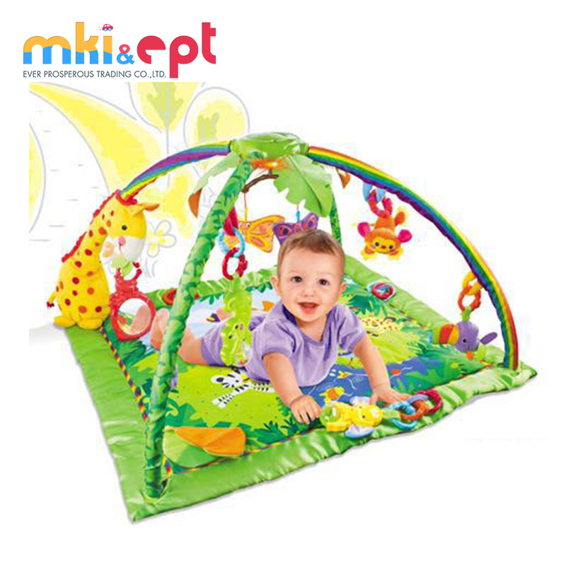 Super soft cloth non toxic baby gym with light and music